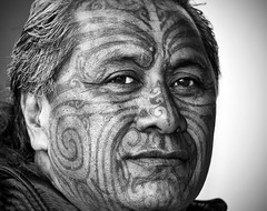 Tuhoe Isaac (Ashley Daws) Tags: new portrait people bw white black face tattoo canon paint skin isaac tribal mob zealand warrior 5d were once maori tribe kiwi marking mongrel gangs moko mkii ganster tuhoe t