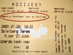Harry Potter és a Félvér Herceg - mozijegy