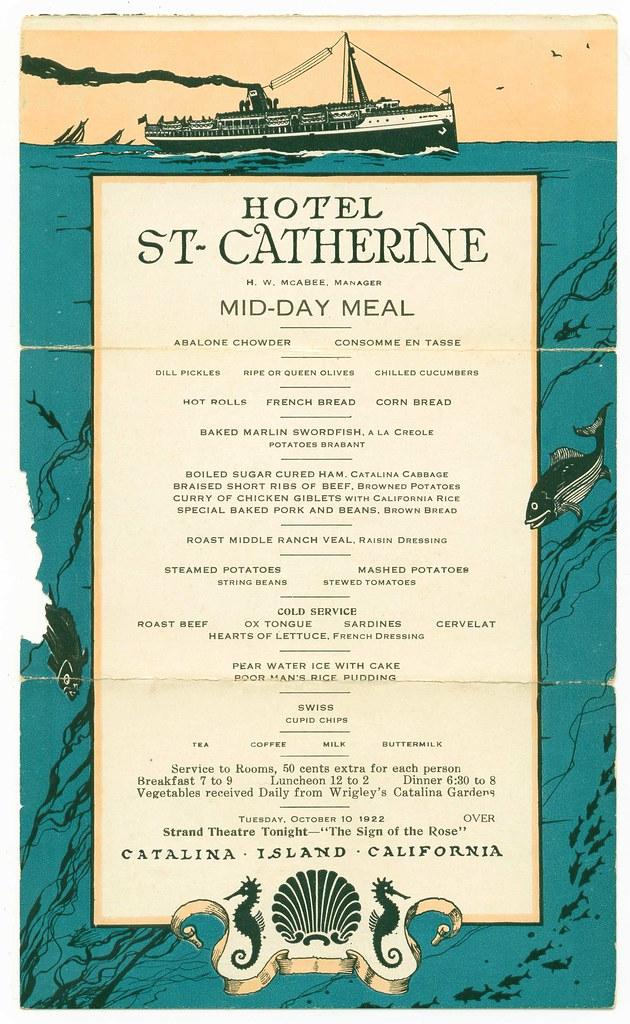 Hotel St-Catherine menu 1922
