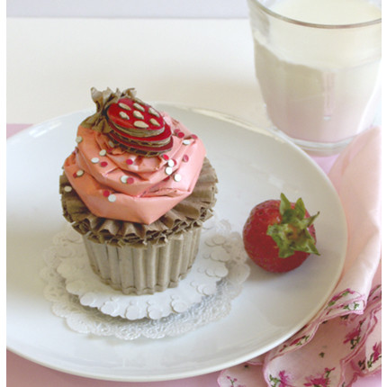 Summer Cupcake With Strawberry Buttercream, Halved Fresh Strawberry, and Sprinkles