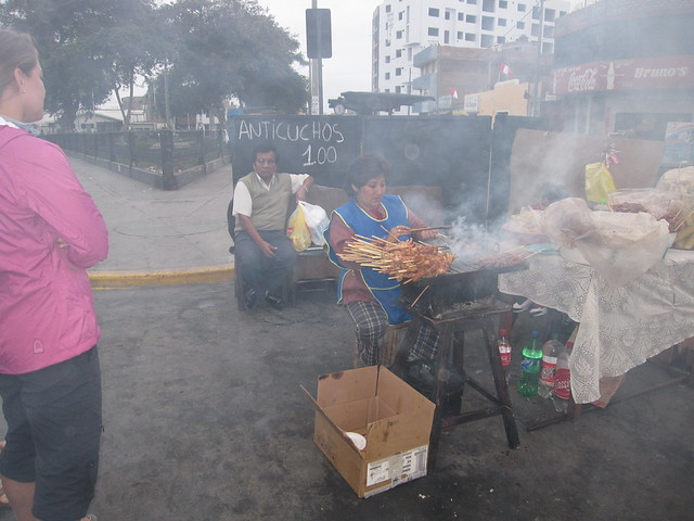 Grilling up Anticuchos in Peru