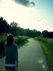 (All Dolled Up.) Tags: trees light sky sun nature girl grass clouds solar path flare pathway