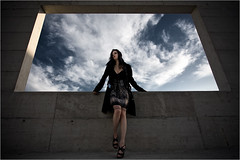 Unreal. (Beat.) Tags: summer portrait sky woman window girl fashion wall architecture concrete outdoor availablelight whatever rectangle 33