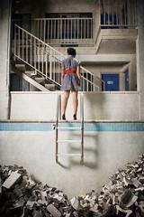 cara mia xo (metakephoto) Tags: abandoned pool oregon portland hotel legs motel retro staircase pdx swimmin deepend metakephoto jeffmawer strobist caramiaxo