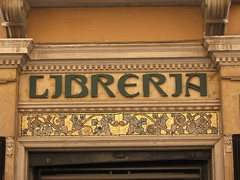Liberty style lettering and mosaic (lurcherlad) Tags: italy shop liberty mosaic sicily lettering bookshop trapani bookseller