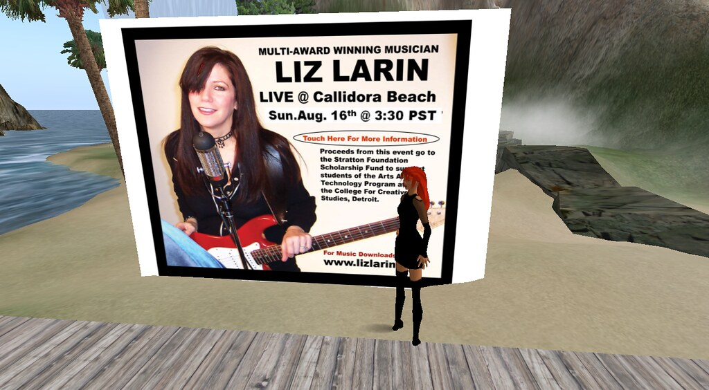 Liz Larin - prepares for Live Concert in the Virtual World.