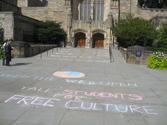 Mozilla Service Week chalking in front of Sterling Memorial Library at Yale