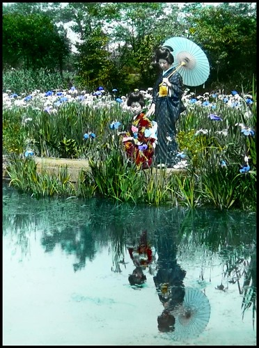 TWO GEISHA AND THEIR WATER-LOGGED GHOSTS IN THE HORIKIRI IRIS GARDENS of OLD TOKYO, JAPAN