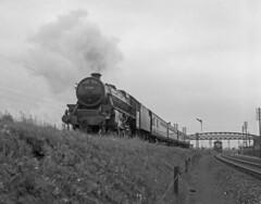 45134 leaving Kettering with the 1255 St Pancras to Nottingham 11 Aug 1962 (pondhopper1) Tags: blackandwhite white black steam railways lms 460 black5 uksteam