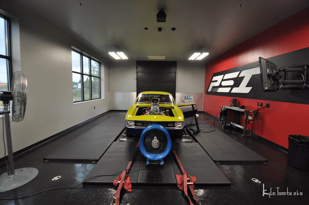 Camaro on dyno wide angle