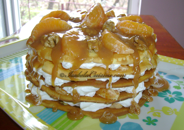 Crapes-cake with orange and caramel sauce
