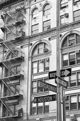 Broadway & Houston (Fotis Korkokios) Tags: city nyc newyorkcity urban blackandwhite bw usa newyork building beautiful architecture america manhattan unitedstatesofamerica broadway scenic houston roadsign metropolis bigapple urbanphotography urbanenvironment newyorklandscape canon450d fostis escapeexit canoneosdigitalrebelxsi fotiskorkokios