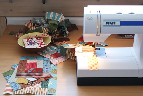 sewing log cabin blocks