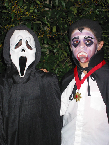 TV Boy and his BFF on Halloween {Scream & Dracula}