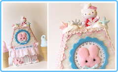Hello Kitty Pink and Blue Winter Cottage (ittybittybirdy) Tags: christmas winter house snow hellokitty cottage decoration homemade cottoncandy gingerbreadhouse lollishops ittybittyb