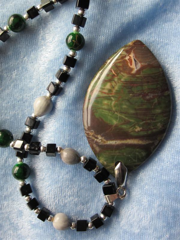 Mens Rainforest Jasper Gemstone Pendant Necklace