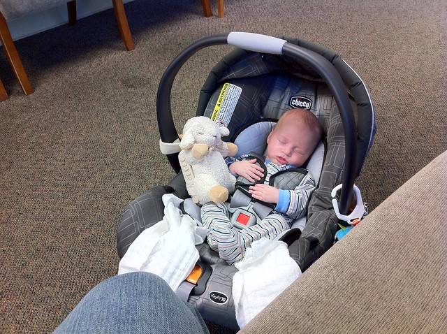 Sleeping baby. Post-occupational therapy, pre-Momma's doctor appointment.