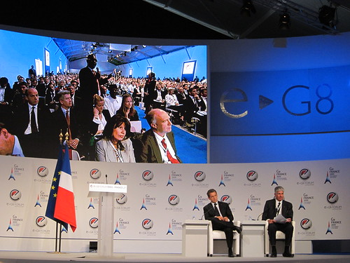 President Sarkozy takes a question from the crowd during the opening session of the eG8 forum