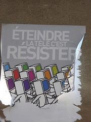 Graff in Paris - by ? (brigraff) Tags: streetart collage pastedpaper pasteup wheatpast paris brigraff télévision tv