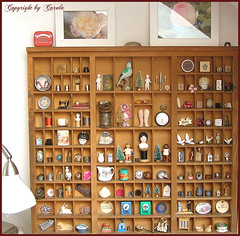 Fully filled vintage type case (Boxwoodcottage) Tags: trees wallpaper dice paris bird thread spools glitter vintage frozen miniature wooden doll heart nest charlotte printer head stamps antique dove sewing watch border brooch bisque machine jewelry case shelf scissors scrabble drawer button type eggs bottlebrush pocket pendant thimbles millinery soldered