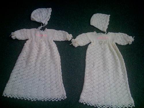 Christening Gowns and Bonnets -  Crocheted.