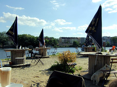Kranhauscaf (Anke L) Tags: dog berlin beach water coffee caf bar umbrella river germany crane f30 spree 2009 kpenick oberschneweide treptowkpenick kranhaus kranhauscaf photodomino866