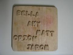 family alphabet cookies, cutting board (mooncowboy) Tags: family art cookies cookie name board cutting alphabet names