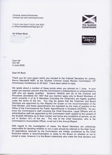 Reply From Kenny MacAskill Re SCCRC Dossier