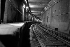 (Brian Hagy) Tags: blackandwhite bw white chicago black public underground subway track cta tunnel il transportation