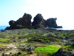 The rock of two lion  Orchid Island  --  (Ming - chun ( very busy )) Tags: blue sea sky cloud island taiwan