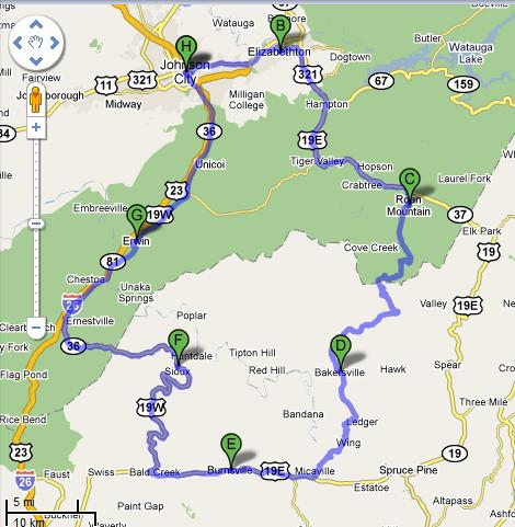 Johnson City Ride Map