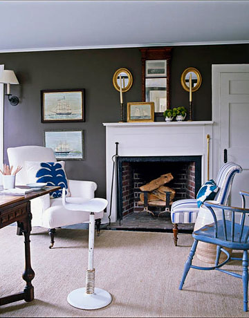Understated blue + brown Hamptons style: Benjamin Moore 'Clinton Brown' + white & blue accents