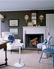 Understated blue + brown Hamptons style: Benjamin Moore 'Clinton Brown' + white & blue accents (SarahKaron) Tags: brown house inspiration newyork home vintage design hamptons fireplace paint antique interior stripes library room livingroom decorating rug nautical simple decor mantle blueandwhite housebeautiful easthampton benjaminmoore brownandwhite darkbrown throwpillows brownandblue paintcolors blueandbrown slipperchair browninterior simonupton brownroom tomscheerer clintonbrown paintedmantle brownlivingroom