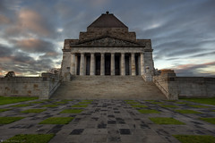 In Memoriam  Shrine of Remembrance  Melbourne (WilliamBullimore) Tags: sky monument architecture clouds sunrise dawn memorial steps australia granite artdeco remembranceday warmemorial anzac neoclassical stkildaroad kingsdomain anzacday shrineofremembrance doriccolumns estremit jameswardrop philliphudson tynonggranite