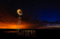 No wind (David Kingham) Tags: blue sky orange lightpainting windmill clouds fence stars nikon colorado fortcollins astrophotography pawnee d90 pawneenationalgrasslands skytheme