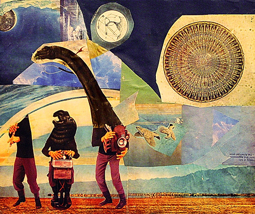 LARRY CARLSON, THE THREE MUSICIANS, collage on paper, 11inX14in, 2004.