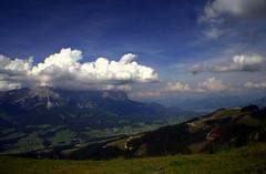 Am Wilden Kaiser (grwsh.marcel) Tags: blue sky mountains 20d clouds canon austria oostenrijk blauw skies view canon20d wolken dal valley 1855mm bergen uitzicht lucht oversaturated verzadigd