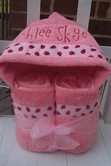 Pink Ladybug Hooded Towel (spiritofgiving) Tags: towels custom personalized hooded