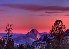Half Dome Sunset in the smoke (Camerons Personal Page) Tags: yosemite halfdome yosemitenationalpark hdr topaz lucis olmsteadpoint