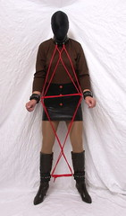 6060 (blackknot100) Tags: tv boots cd bondage rope crossdressing heels masked collar bound miniskirt pantyhose crossdresser restrained leathercuffs