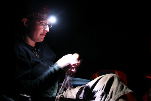 knitting by headlamp
