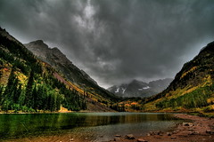 Maroon Bells (TVGuy) Tags: autumn lake mountains fall leaves bells canon colorado raw maroon denver aspen skycloudsautumn