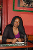 Petina Gappah relaxes in a pub