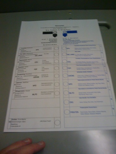Stimmzettel zur Bundestagswahl 2009