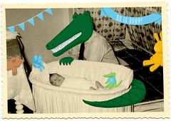 new born (juliette la bte) Tags: bear family bunny vintage toys born photo kid child father alligator picture newborn crocodile oldphoto wacom doodling photomanipolation