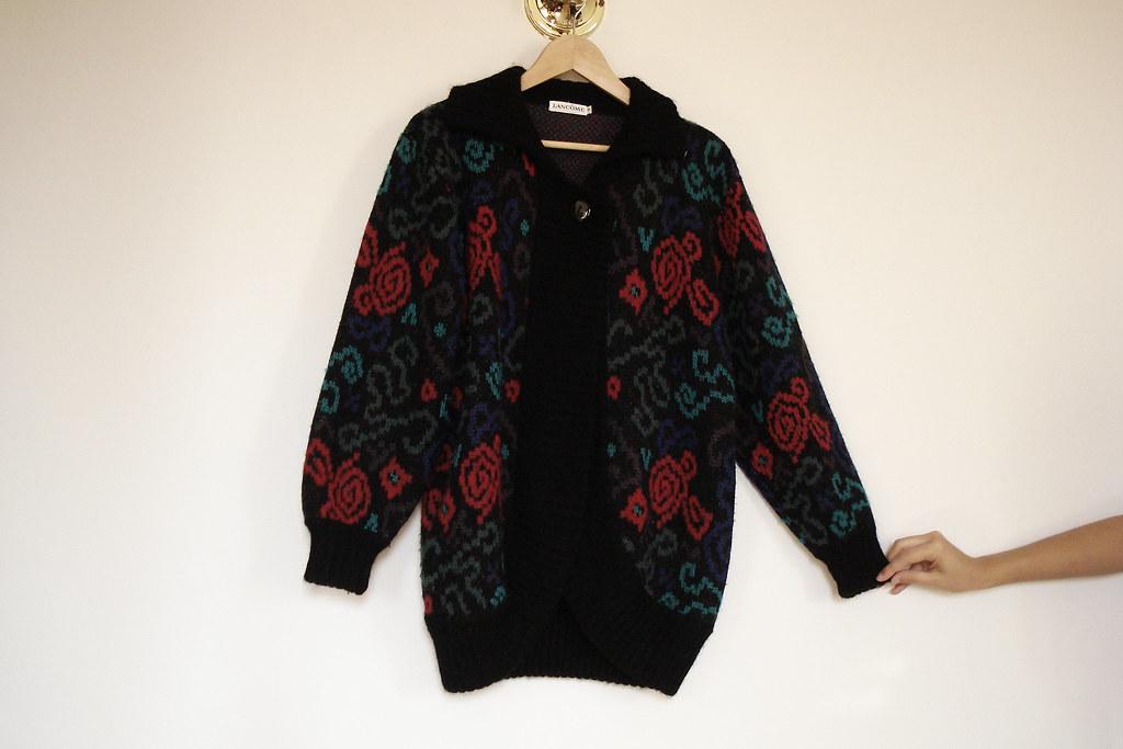 vintage lancome oversized floral sweater
