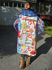 """""""21st Century Fusion"""" fused plastic bags coat ~ photo 10 (Urban Woodswalker) Tags: art fashion collage wonderful advertising typography design graphicdesign weird colorful different graphic unique oneofakind ooak coat awesome creative craft surfacedesign add statement recycle fabulous melted fashionshow craziness bizarre consumerism branding artisan plasticbags overthetop ironed chicagoland reuse fused popularculture repurpose 21stcentury ecoart workofart arttowear upcycle artwear myowndesign iconagraphy urbanwoodswalker swancc environmentalstatement 2009flashytrashionshow visualoverstimulation midwesternartist maenriquez maryanneenriquez savemyoceans"""