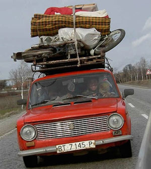 Moving out with red car picture