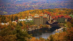 Mohonk Mountain House (kotobuki711) Tags: autumn trees lake ny newyork building fall hotel dock october view hiking lodging scenic cliffs historic canoe foliage canoeing newpaltz daytrip mohonkmountainhouse canon50d skytoptowertrail