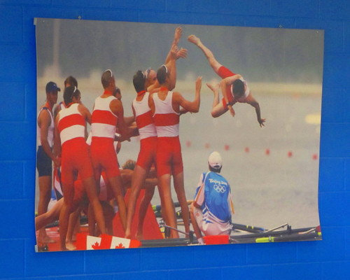 A poster at the Indoor Rowing Tank adds bit of fun for athletes who train there